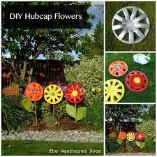 Easy Diy Garden Decorations Creative Ideas Diy Hubcap Flower Garden Decor