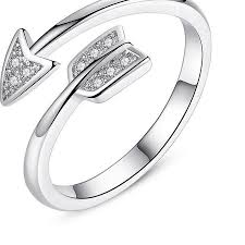 crystal silver rings images Sterling silver adjustable arrow ring jungle of jewels jpg