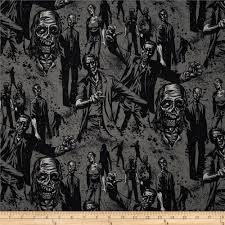 haunted house zombie charcoal from fabricdotcom designed by