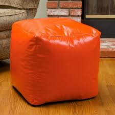 Vinyl Orange Ottoman Cameron Orange Vinyl Bean Bag Cube Ottoman Walmart