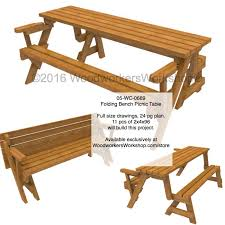 05 wc 0689 folding bench picnic table woodworking plan with full