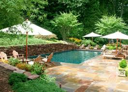 Backyard Pool Landscape Ideas Backyard Pool Landscaping Ideas With Trees And Evergreens