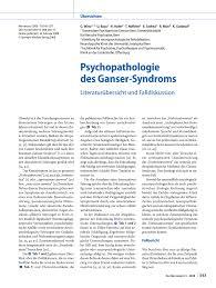 Eck K Hen G Stig Psychopathologie Des Ganser Syndroms Pdf Download Available