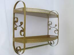 Metal Bathroom Shelves 50s 60s Gold Scrolls Tole Metal Bath Bathroom Shelves W Towel Rod