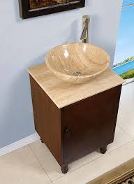 Bathroom Vessel Sink Vanity by Silkroad 20 Inch Travertine Vessel Sink Vanity English Chestnut