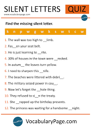 printable missing letters quiz silent letters quiz 1