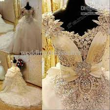 bling wedding dresses wholesale new arrival bling bling crystals luxury v neck handmade