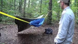 diy improvised hammock made out of tarps eric tbp youtube