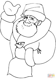 santa holding a bag of toys coloring page free printable