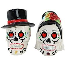 Salt Shaker Halloween Costume Amazon Dead Bride Groom Skulls Ceramic Salt