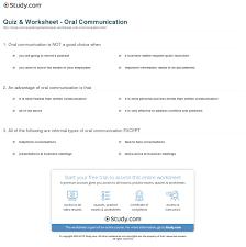quiz u0026 worksheet oral communication study com