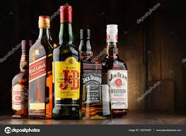 whiskey photography composition with bottles of popular whiskey brands u2013 stock