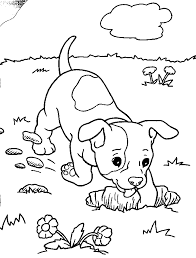 dog digging a hole in the ground coloring page arc art