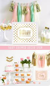 pink baby shower decorations gold baby shower themes for