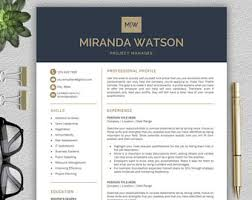 it professional resume template resume template etsy