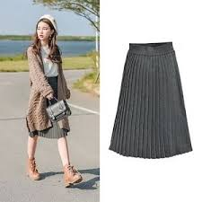 knee length skirt mori winter grey knit pleated skirt high waist a line knee