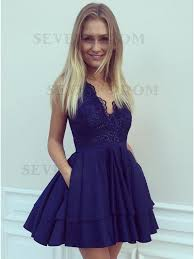 navy blue dress buy a line v neck navy blue satin homecoming dress with lace