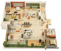 four bedroom floor plans 3 bedroom house plans 3d design with bathroom artdream luxihome
