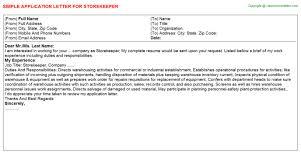 Storekeeper Resume Sample by Storekeeper Application Letters
