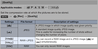 camera settings how do i set raw jpeg recording on my panasonic
