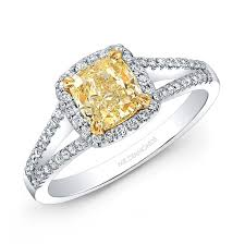yellow engagement rings white and yellow gold split shank diamond halo yellow diamond
