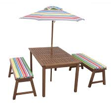 Patio Umbrella Table And Chairs by Amazon Com 4 Piece Kids Picnic Table Wooden Dining Set With