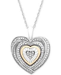 necklace silver gold images Diamond accent two tone heart pendant necklace in sterling silver tif
