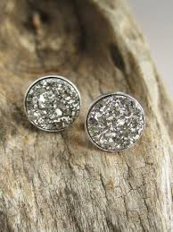 rhodium earrings sensitive ears gorgeous silver druzy quartz coins are bezel set in rhodium