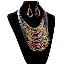 resin bead necklace images Multicolor multi layer resin beads necklaces and earrings set jpg