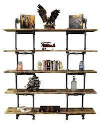 Black Pipe Bookshelf Bookcase Industrial Modern Shelf Brackets Industrial Corner Pipe