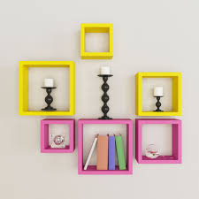 6 nesting square wall shelf rack unit pink u0026 yellow