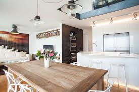 attic kitchen ideas attic kitchen apartment decor with natural wooden dining table and