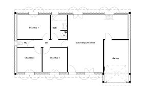 les 3 chambres plan maison plain pied 80m2 3 chambres