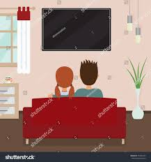 couple sitting on sofa watching tv stock vector 553646383
