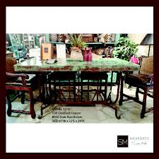 copper top dining room tables rectangular dining table iron chocolate finish copper hammered top