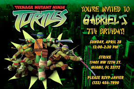 2 creative ninja turtles birthday party invitations