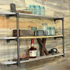 Reclaimed Wood Shelves by Diy Pipe Shelf U0026 Reclaimed Wood Plank Walls