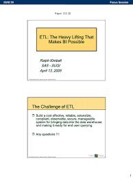 etl the heavy lifting ralf kimball data warehouse information