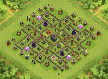 layout vila nivel 9 clash of clans c th 9 clash of clans base layout gaming pinterest