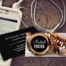 saxophonist saxophone sax lessons business card template