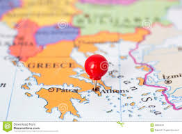 Map Of Greece by Red Pushpin On Map Of Greece Stock Photos Image 29855343