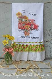 flour sack kitchen tea towel fall autumn thanksgiving sayings