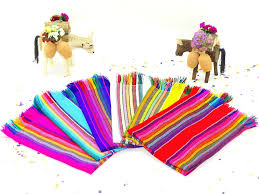 Mexican Party Flags Mexican Woven Cloth Napkins Fiesta Party Decorations Cinco De