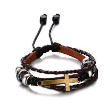 leather bracelet with cross images Bohemian cross charm leather bracelet for women men jpg