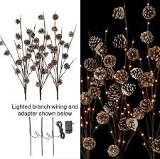 Lighted Branch Tree Lighted Branches With Snowy Pinecones U2013 Paul Michael Company