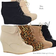 new women u0027s ankle wedge heel platform lace up fashion boots beige