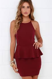 peplum dress burgundy dress peplum dress sleeveless dress 43 00