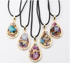 crystal stones necklace images Wholesale 2017 new crystal gemstone water drop color geometric jpg