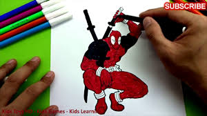 spiderman deadpool coloring pages for kids colouring book learn