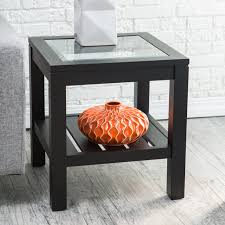 black glass top end tables sutton glass top end table with slat bottom hayneedle